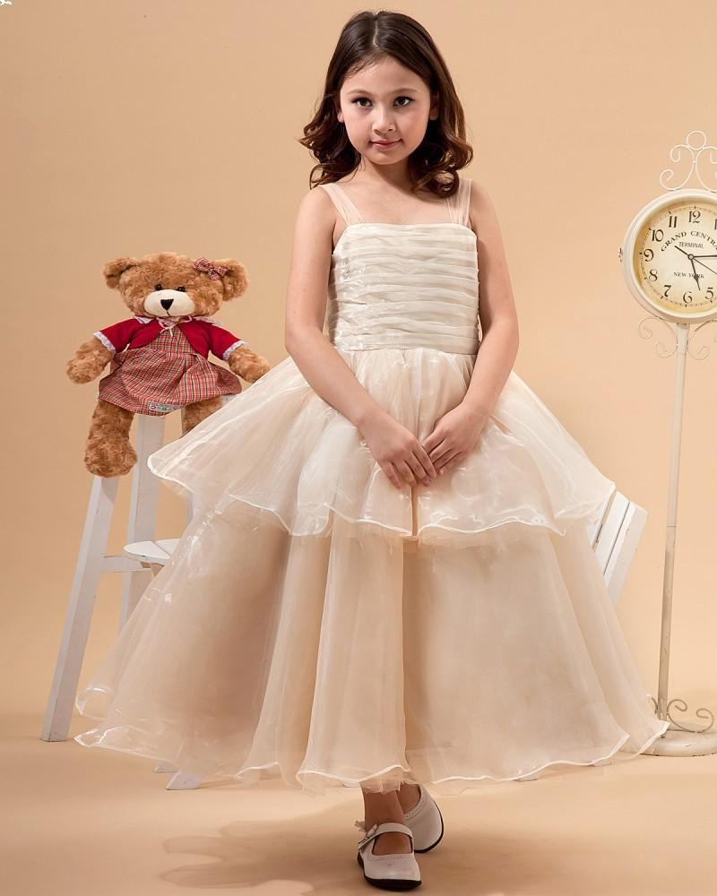 Organza ankle length ruffle flower girl dress a girl can dream