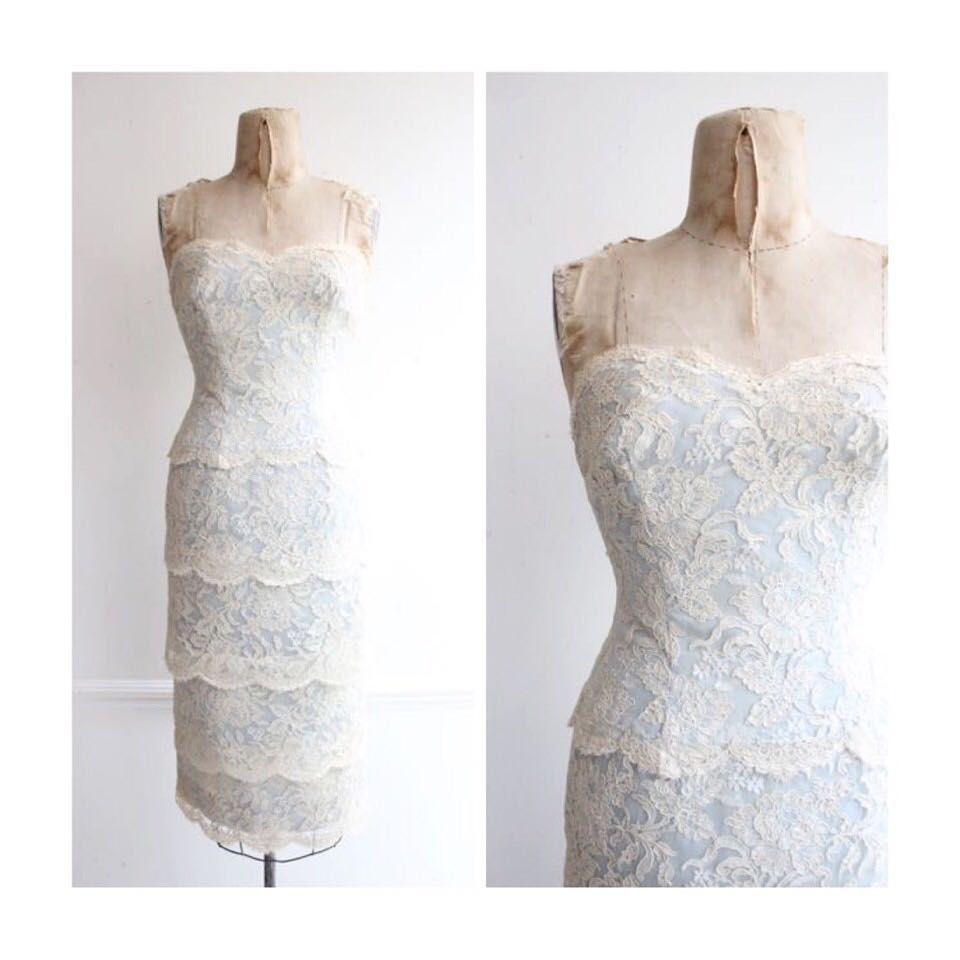 Perfect for a registry office wedding s white lace and ice blue