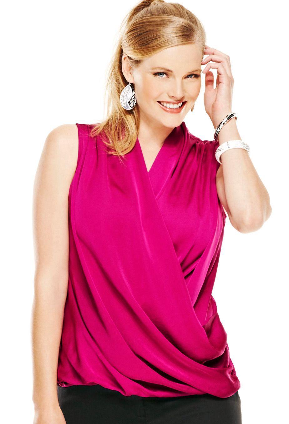 plus size sleeveless wrap blouse | plus size shirts & blouses