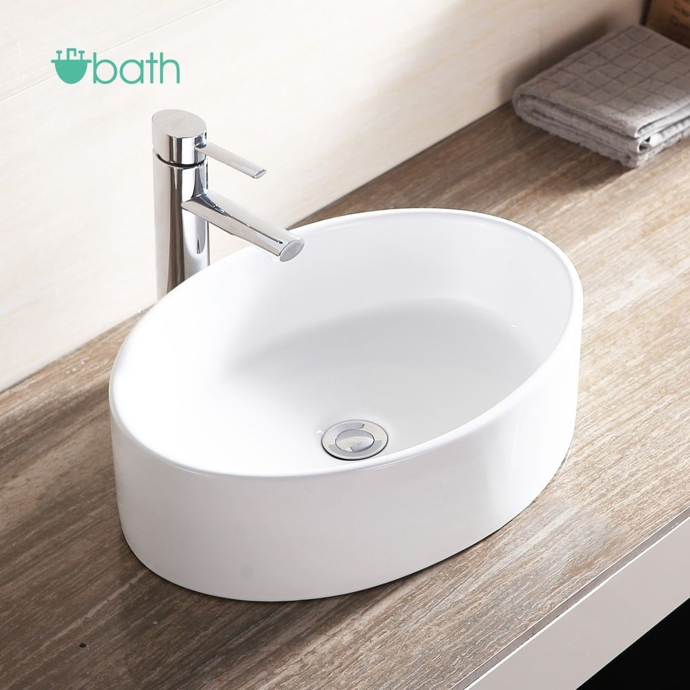 Bathroom Oval Ceramic Vessel Sink Bowl White Porcelain Basin W Pop