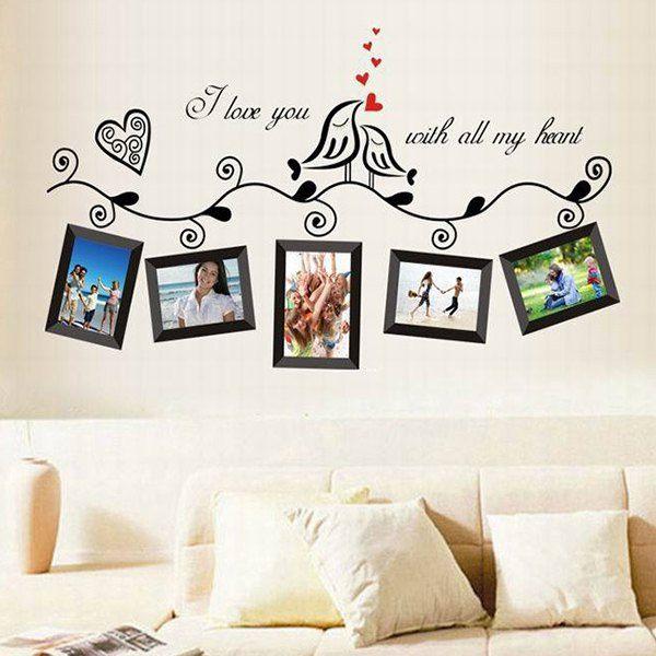 Modelo elegante marco de color foto decoración del hogar de pvc de pared decorativos pegatinas
