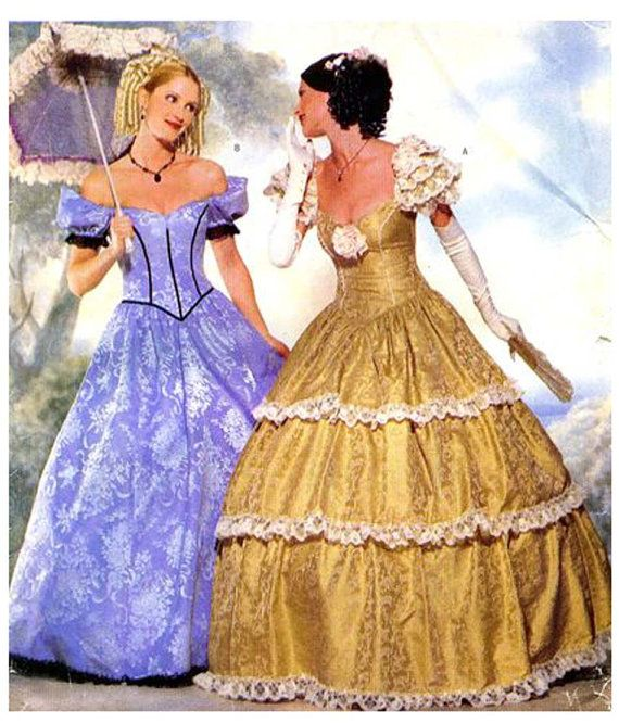 SOUTHERN BELLE BALL Gown Pattern Antebellum Civil War Basque Dress ...