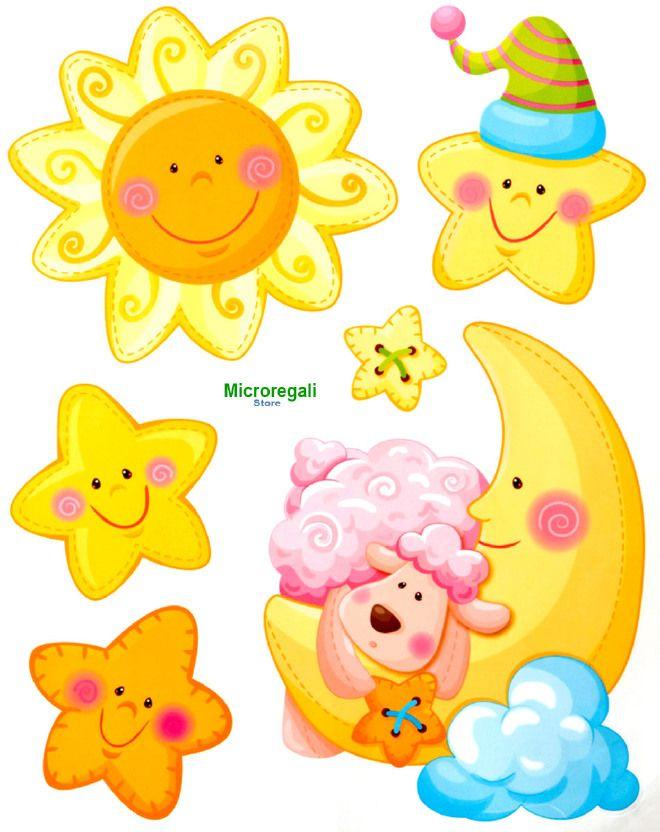 Adesivi Murali Sole Luna E Stelle Cm 36 X 29 Per Cameretta Bambini