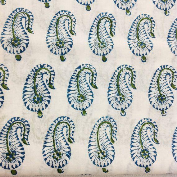Indian Cotton Fabric Block Printed Cotton Fabric by DesiFabrics