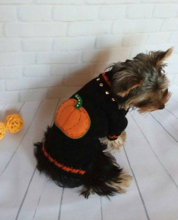 Halloween Dog Sweater Black with an Orange Flower dog