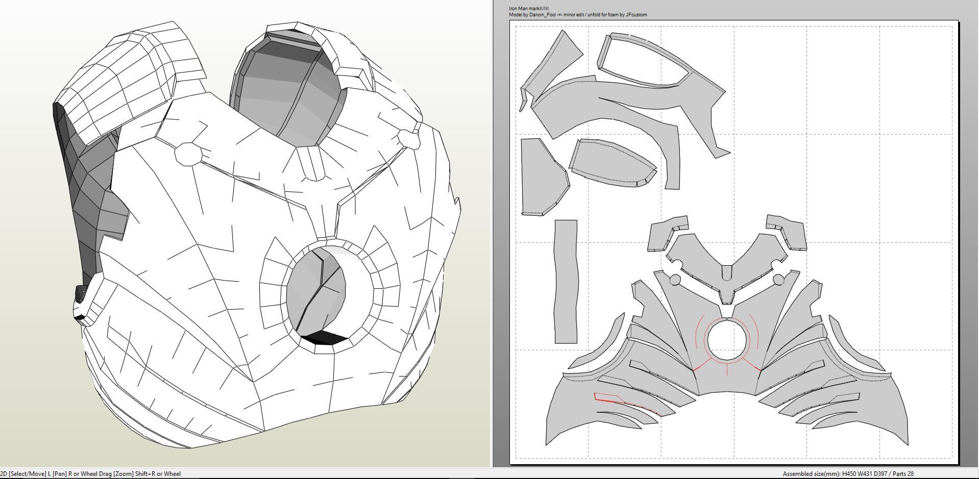 Papercraft .pdo file template for Iron Man - MK III Full Armor + ...