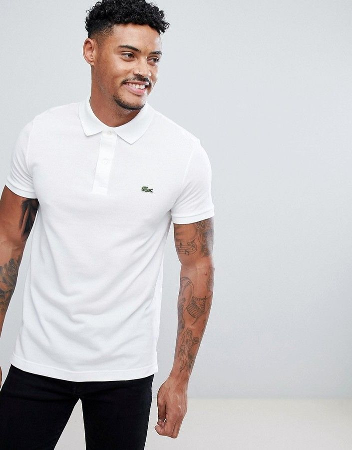5bb1cf0a Lacoste Slim Fit Logo Polo Shirt In White | Products | Lacoste polo ...