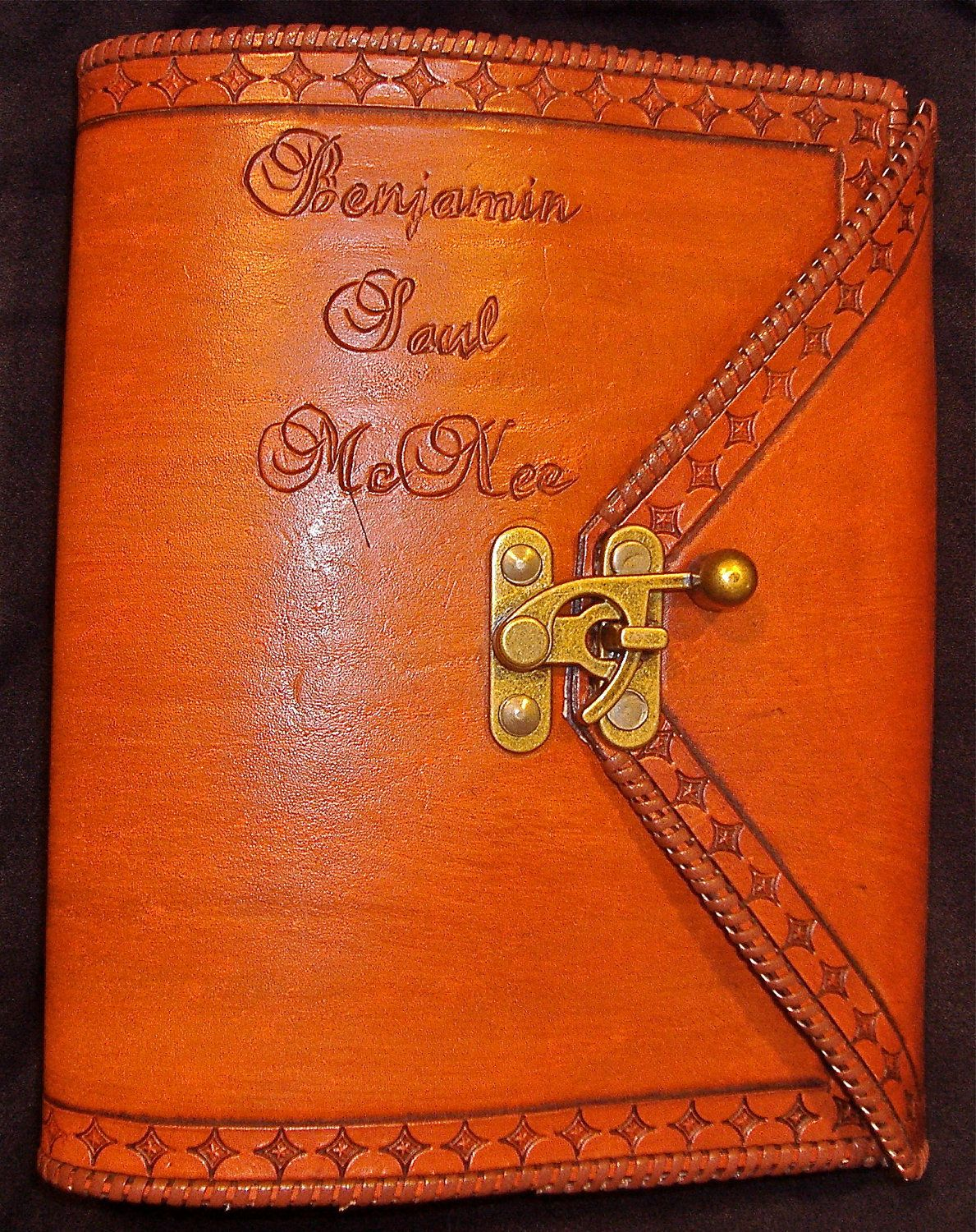 Handmade Leather Book Cover : Custom leather aa big book or bible cover tan