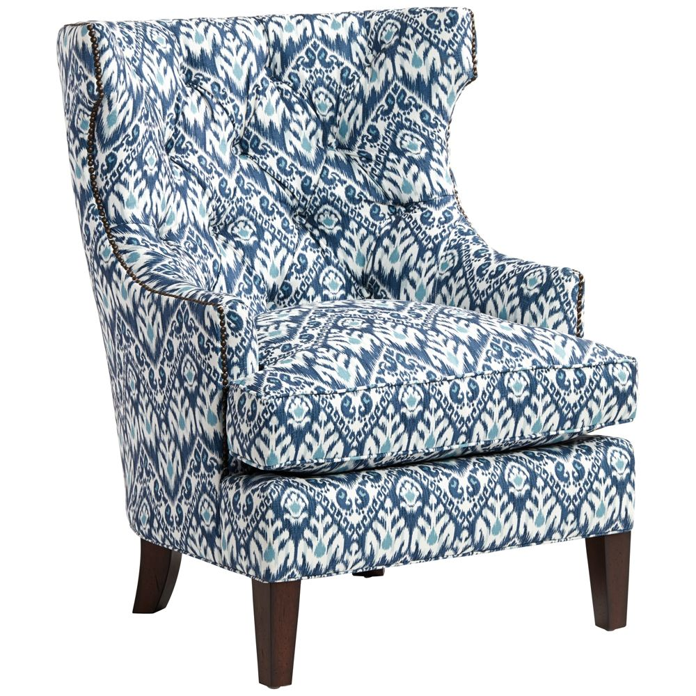 Astonishing Reese Studio Capri Blue Ikat High Back Accent Chair Style Bralicious Painted Fabric Chair Ideas Braliciousco
