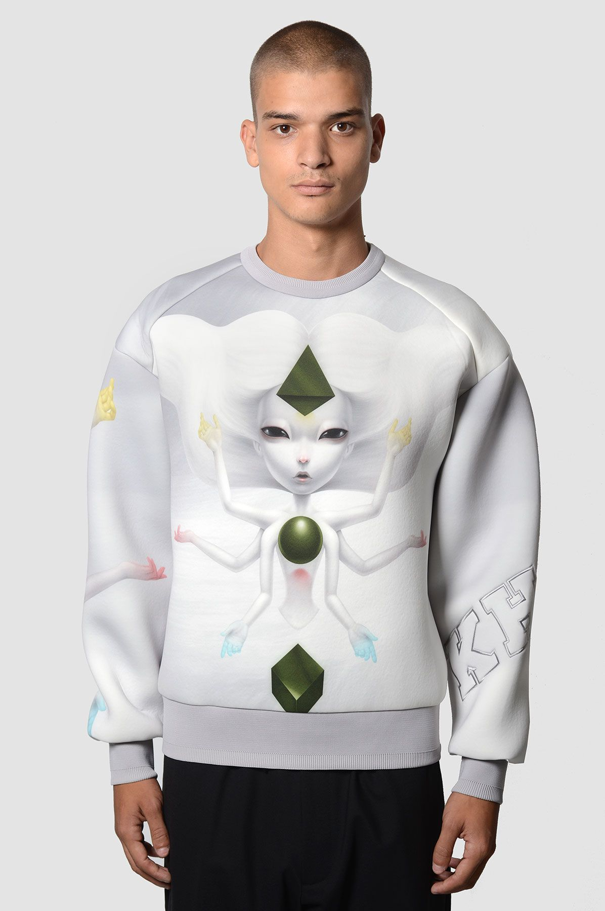 J x Paolo Pedroni The Creator Grey Neoprene Sweatshirt