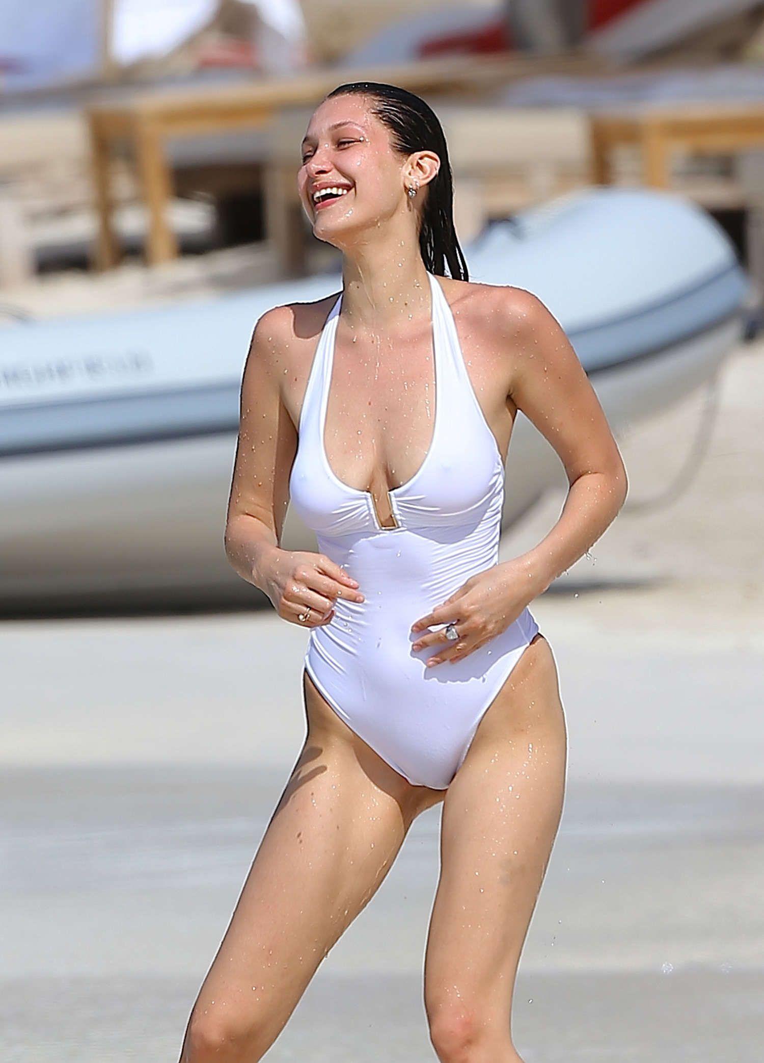 c83b2238f2477 Bella Hadid in White Swimsuit in St. Barts
