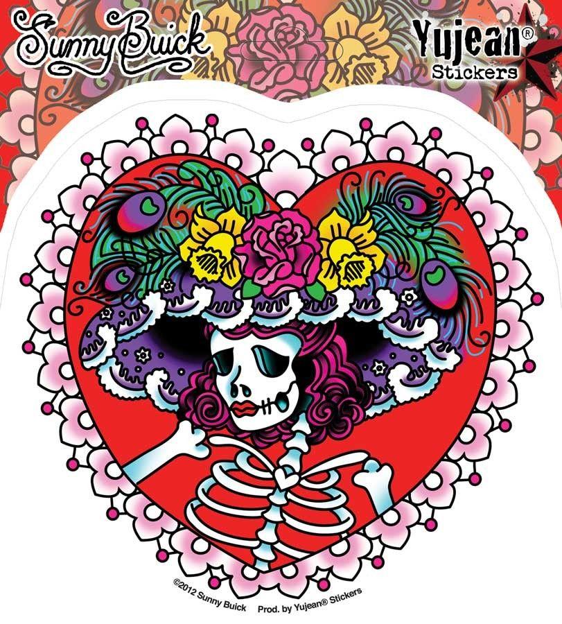 Flower hat sugar skull sticker by sunny buick dia de los muertos day of