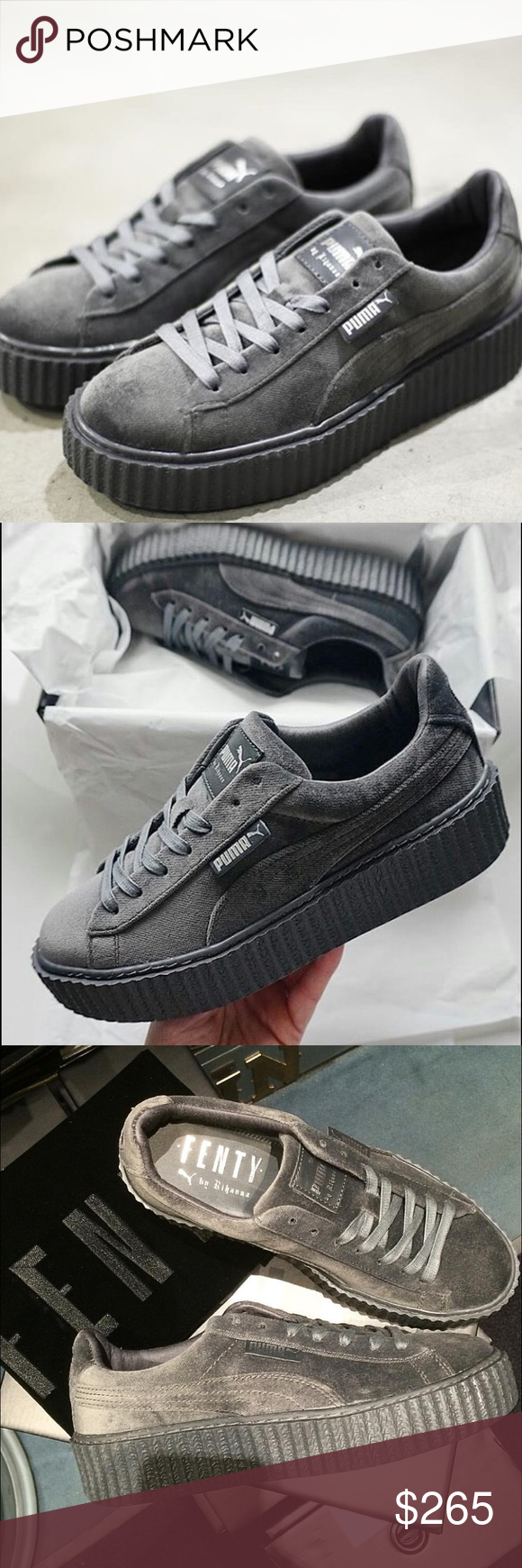 b68c0690f6a Rihanna s Puma x Fenty Glacier Grey Creepers!! These shoes dropped on 12 8
