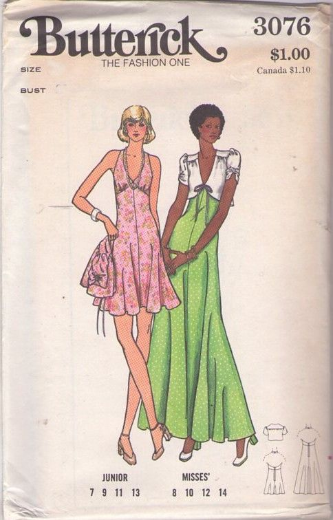 2e7b07f80f Butterick 3076 Vintage 70's Sewing Pattern FOXY Low Cut V Neck Empire Waist  Bare Back Disco Halter Top Party Dress, Maxi Gown, Cropped Tie Front Jacket  Top ...