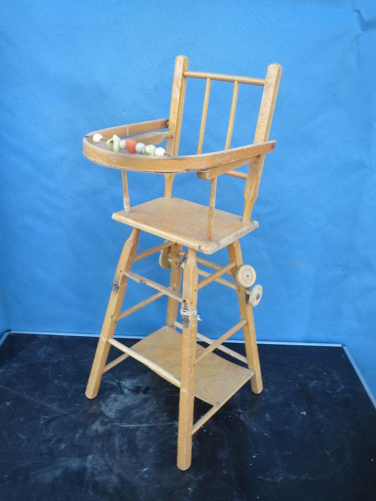Ancienne Chaise Haute Bebe Enfant En Bois Massif Pliante Roulettes Poupee Chaise Haute Chaise Haute Bebe Maison De Noel