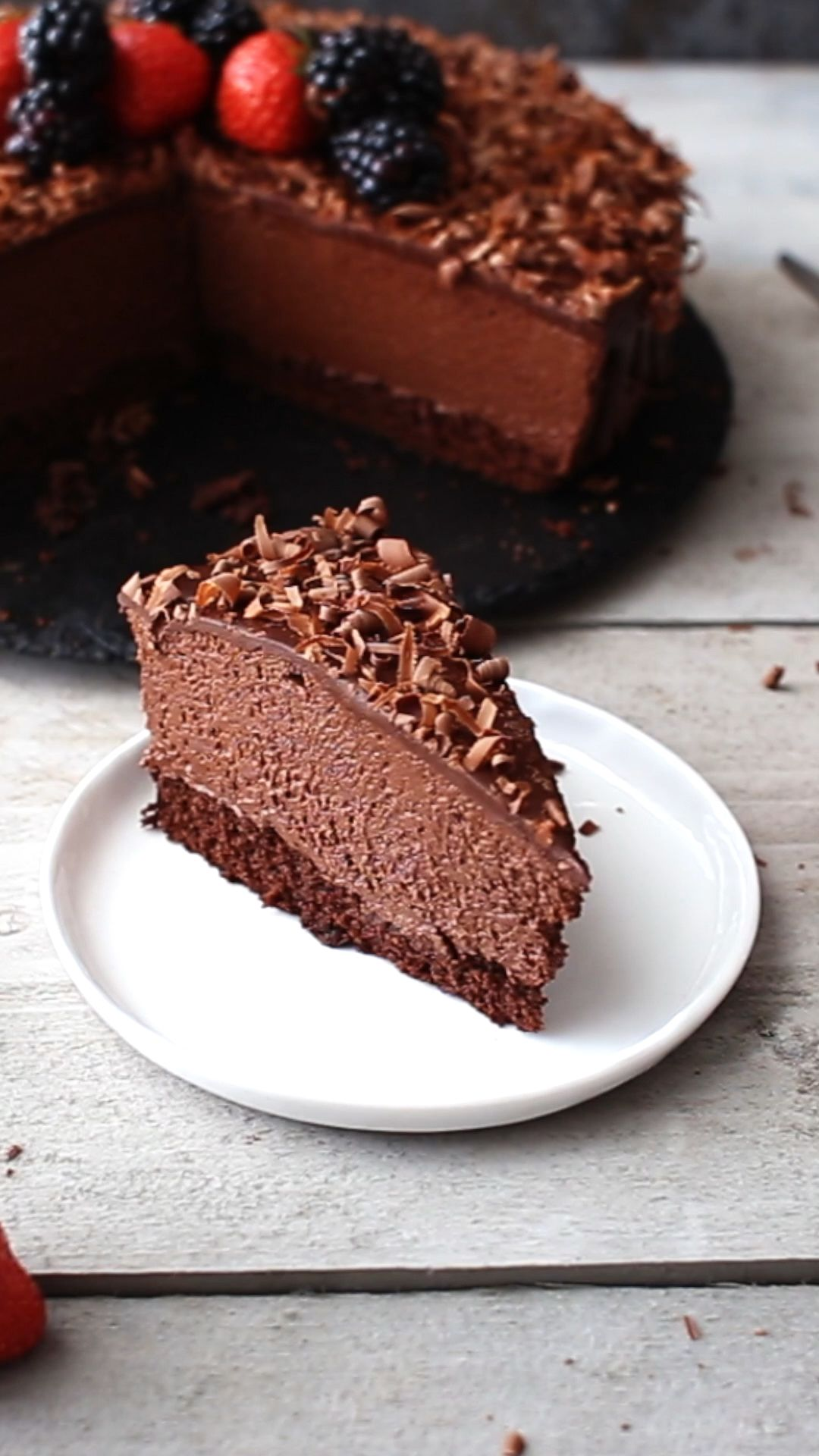 The Chocolate Mousse Cake Recipe | alsothecrumbsplease.com #cakesanddeserts