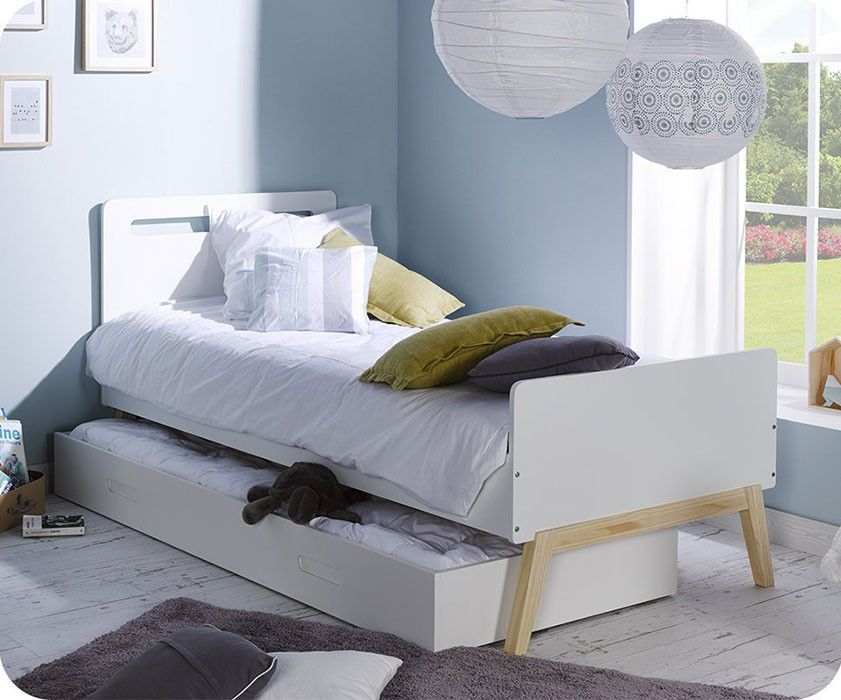 Paket Kinderbett Nino Weiss Und Kiefer Farbe Mit Schublade Und 2