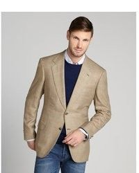 Men's Tan Blazer, White V-neck T-shirt, Khaki Dress Pants | More ...