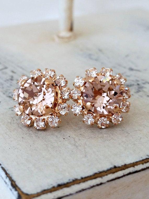 Rose gold Blush Pink crystal halo stud by EldorTinaJewelry on Etsy
