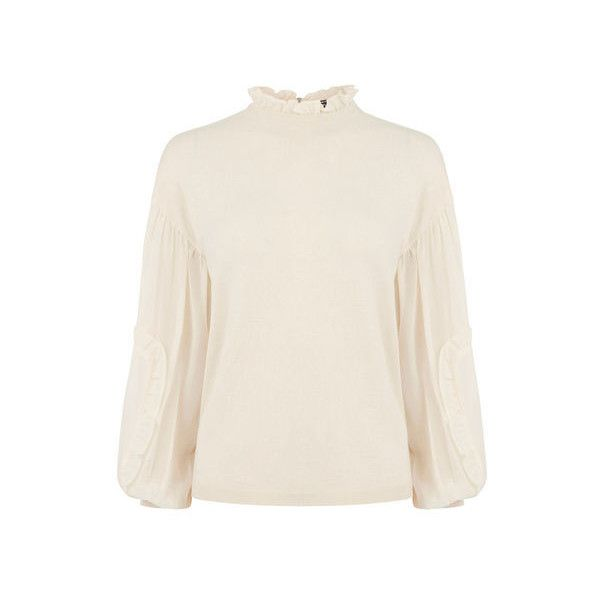 Warehouse Woven Sleeve Jumper (£39) ❤ liked on Polyvore featuring tops, sweaters, cream, woven sweater, woven top, braided sweater, jumpers sweaters and sleeve top