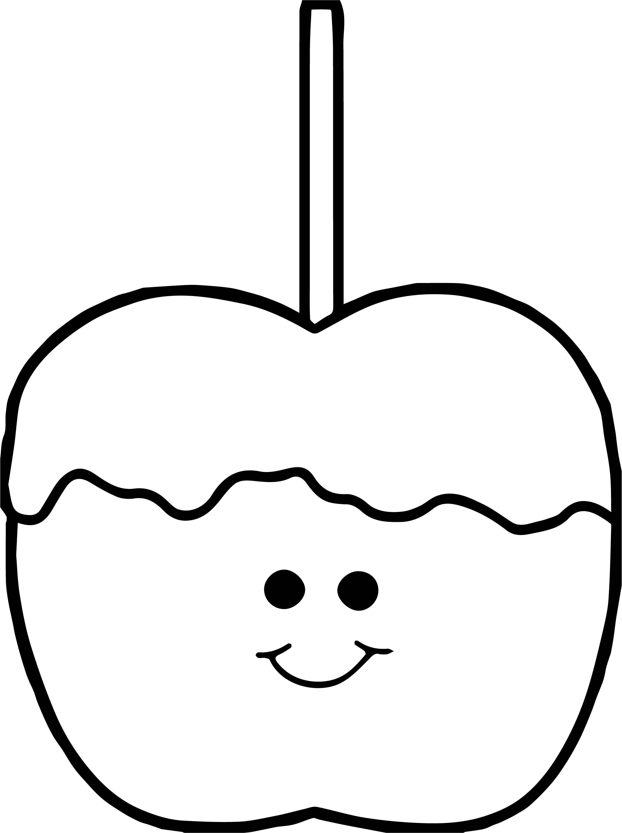 Awesome Cute Caramel Apple Coloring Page