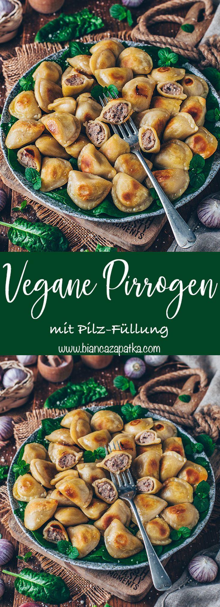 Vegane Piroggen mit Pilz-Füllung (Polnische Teigtaschen)