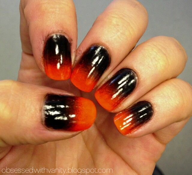 Black Orange Ombre Nail Ombre Nail Colors Black Ombre Nails Orange Ombre Nails