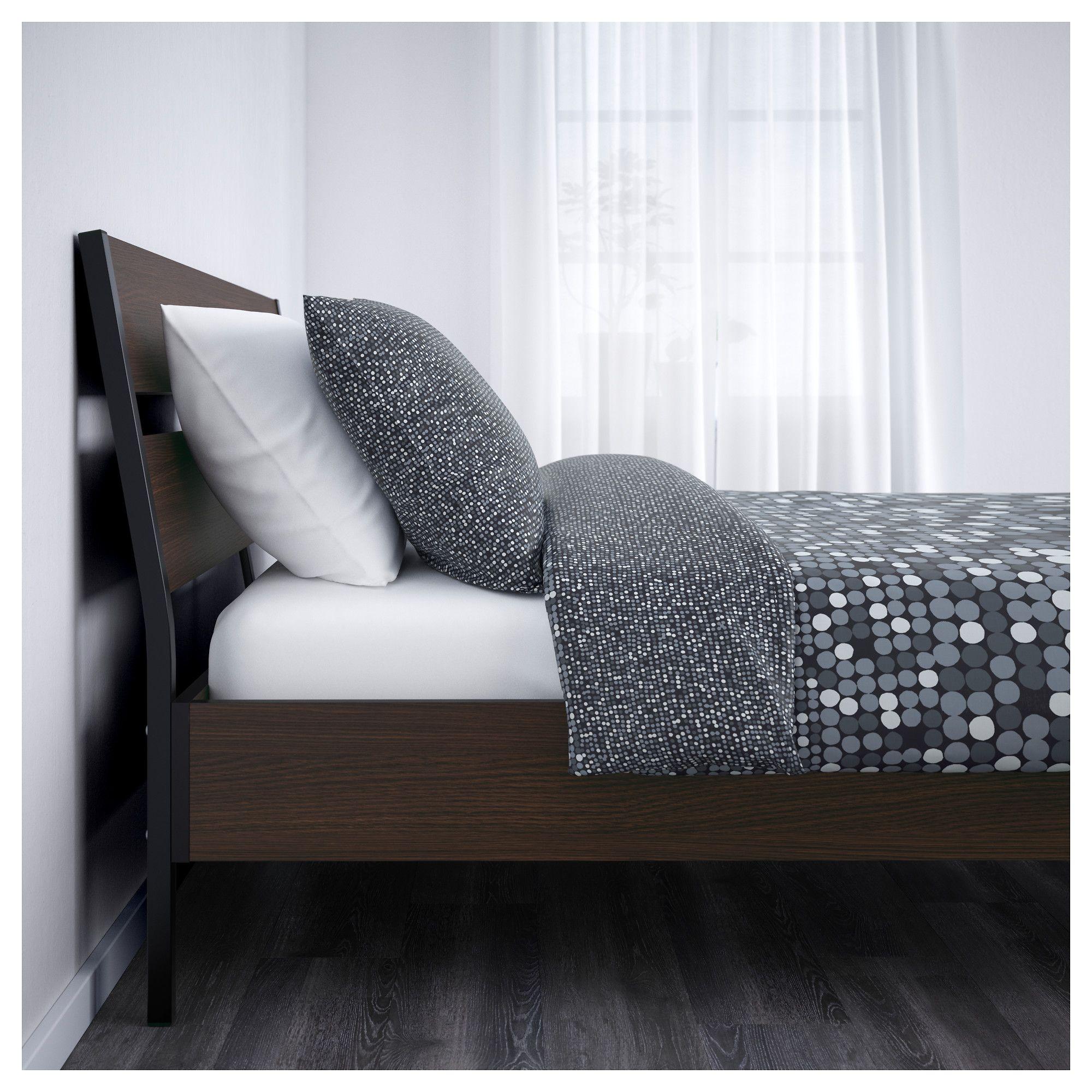 TRYSIL Bed frame, dark brown, Luröy