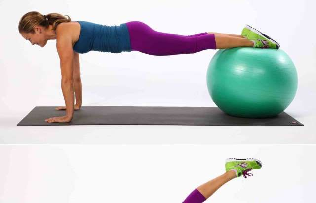 Planks are effective on their own, but add a stability ball in the mix and you'll really feel the bu... - POPSUGAR