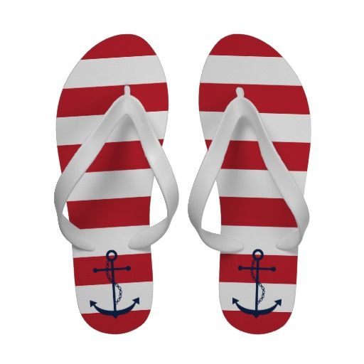 Blue Anchor on Red Nautical Stripes Flip-Flops
