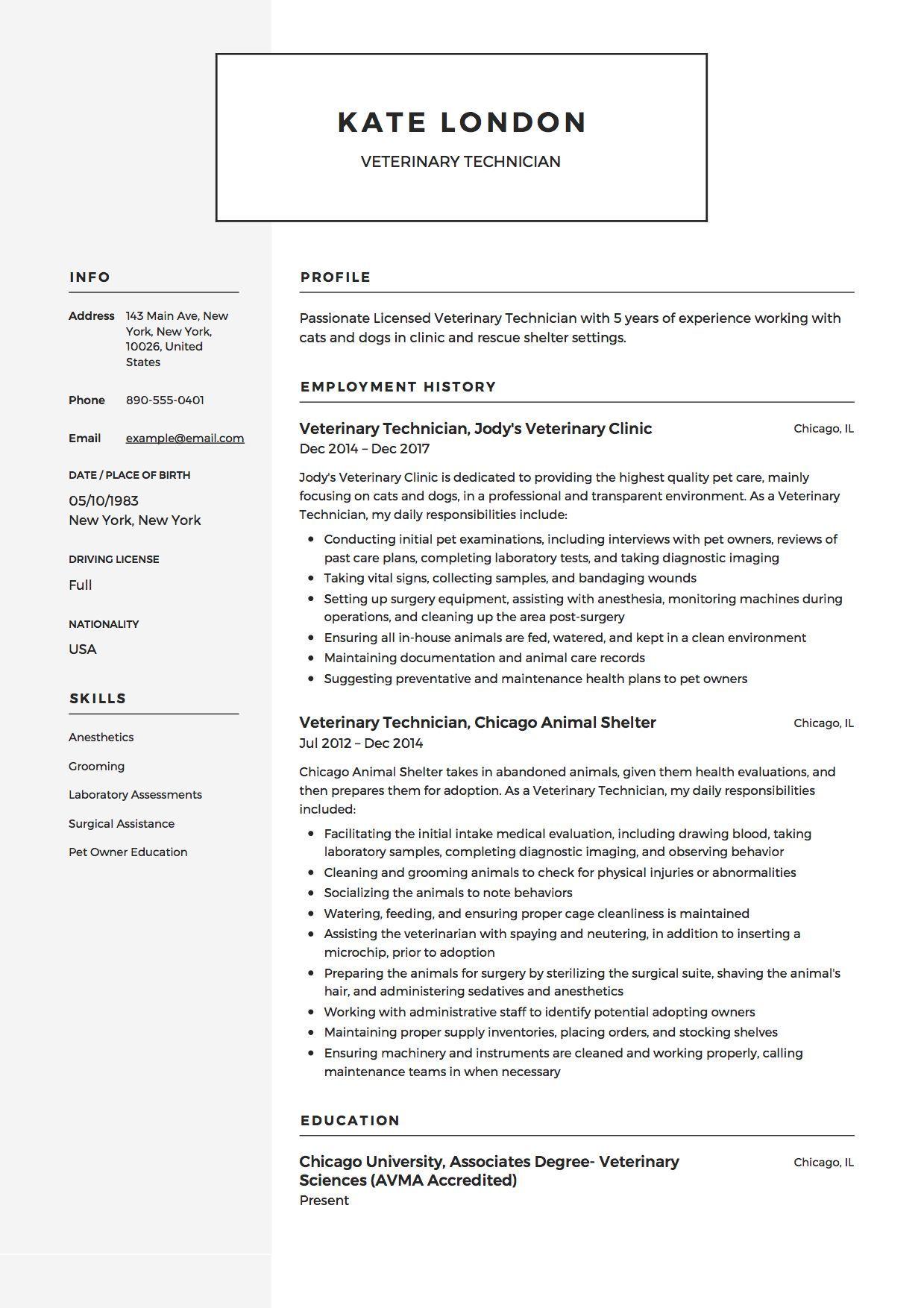 Vet Tech Resume Samples In 2020 Veterinary Technician Vet Tech Student Resume Skills