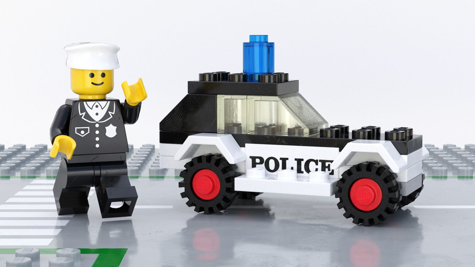 6600 Police Patrol, a Fun Render of Old Lego | Reid's For