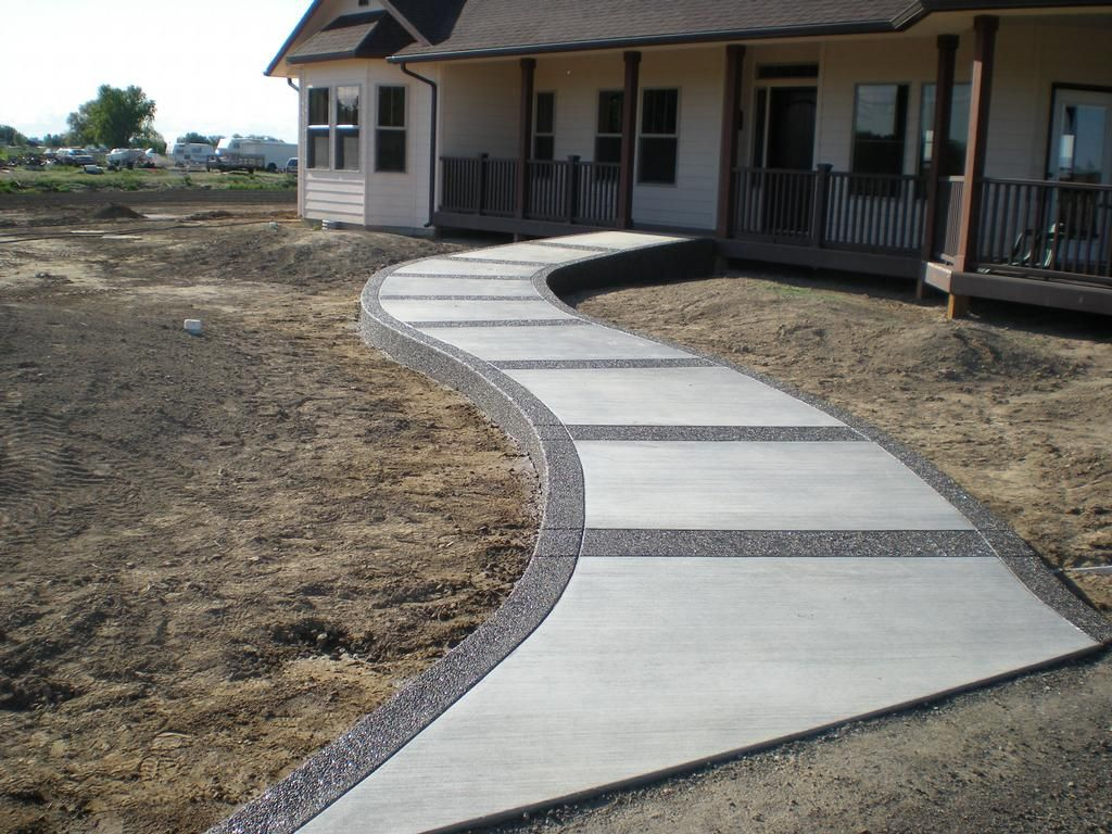 Concrete sidewalk we design pour and finish buchheit for Cement driveway ideas