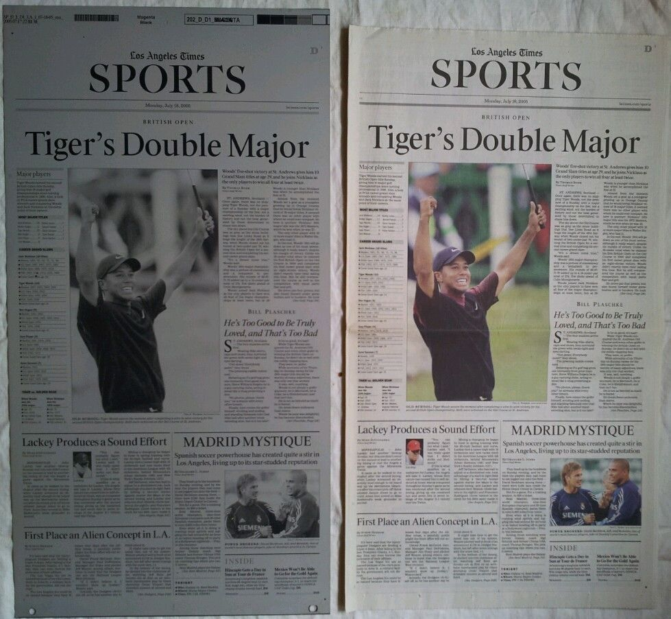 2005 BRITISH OPEN TIGER WOODS LA TIMES PRINTING PLATE & SPORTS SECTION  #PGA #Golf #BritishOpen #TigerWoods #LATIMES #PrintingPlate #PressPlate