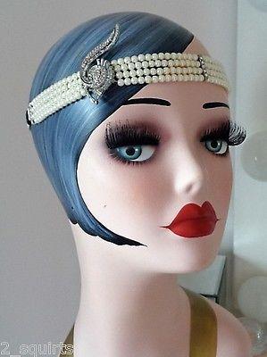 NEW 1920 s flapper Gatsby pearl forehead headband silver elastic art deco  90660cac84b8