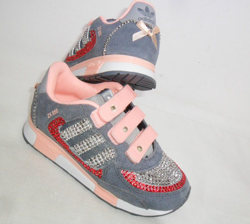 Girls Adidas Trainers ZX 850 Pink Silver Crystals Bling UK Size 10 ...