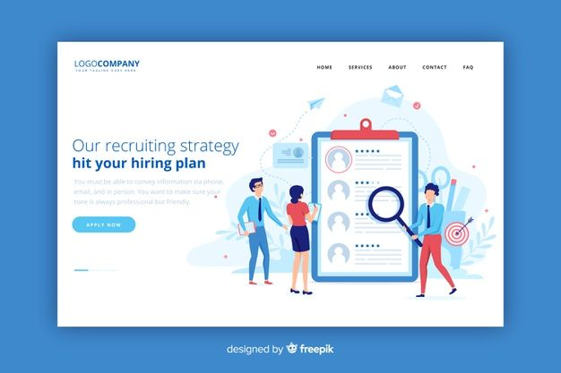 Recruiting strategy landing page Vector | Free Download | Web Desing