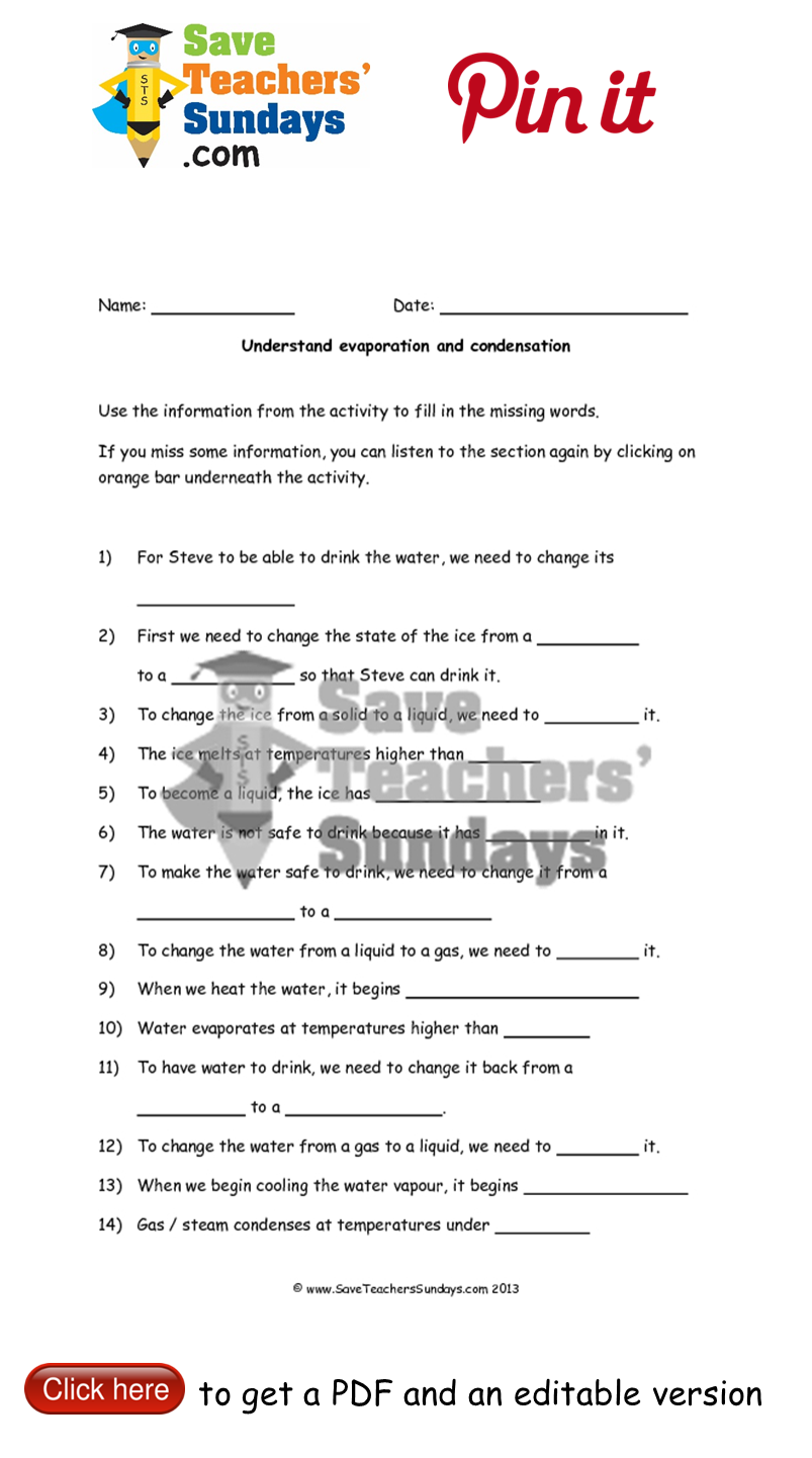 Workbooks solid liquid and gas worksheets : Evaporation and condensation worksheet to go with online activity ...