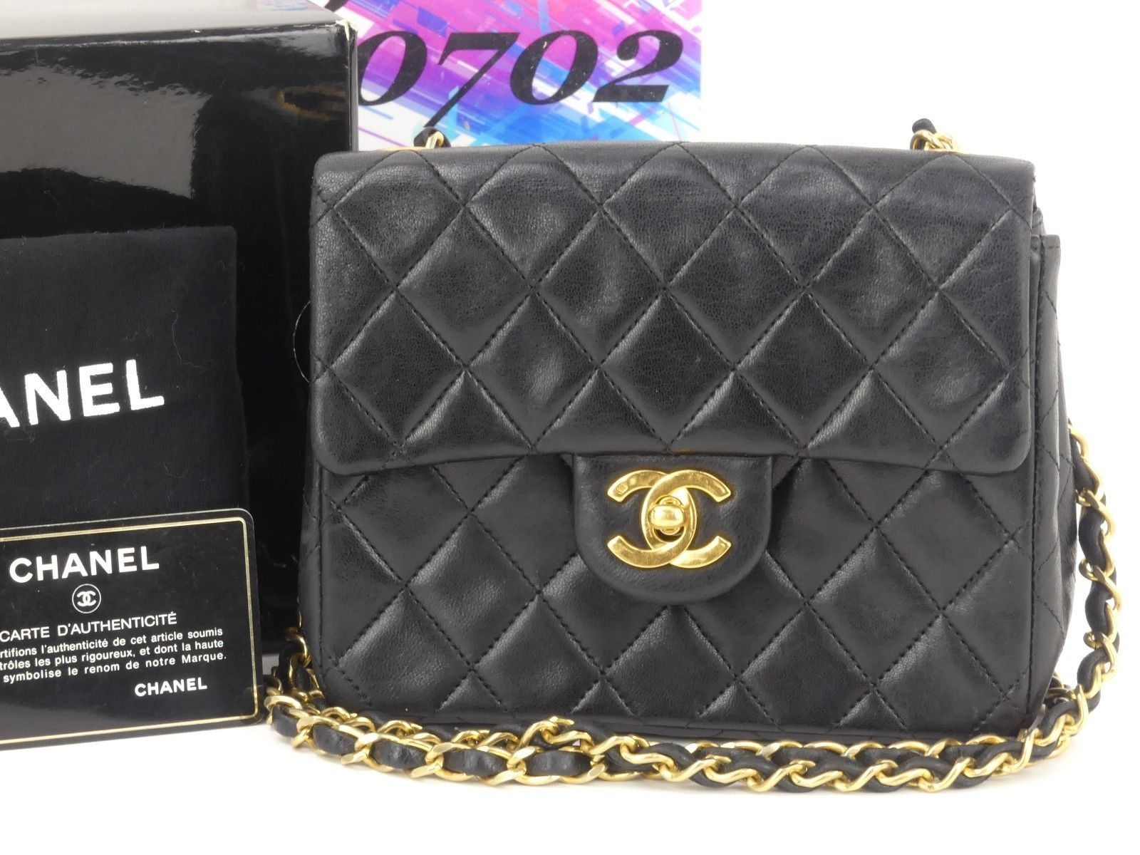 534a66437f69 r3871 Auth CHANEL Black Quilted Lambskin Leather Mini Flap Chain Shoulder  Bag