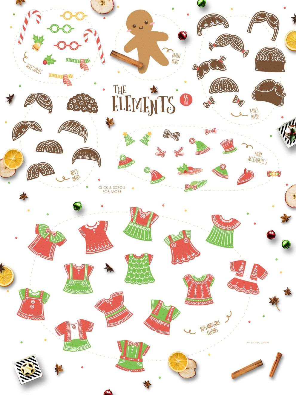 Gingerbread Boys and Girls Cute Christmas Character
