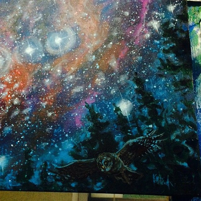 Space is challenging to paint, it's been a while. A great excuse to spill a million little drops.