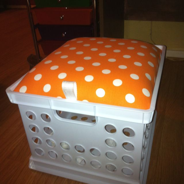 Crate seats for classroom. Extra storage and ribbon for an easy finger pull.