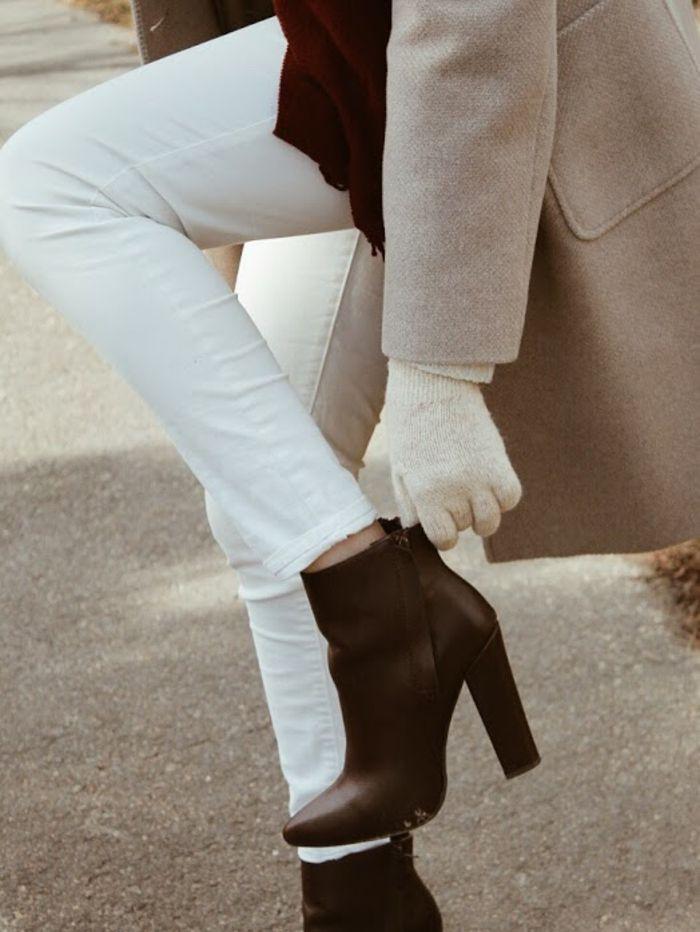 28c3cc3cc5a Tenue jupe hiver comment porter bottines tenue femme classe automne  pantalon blanc