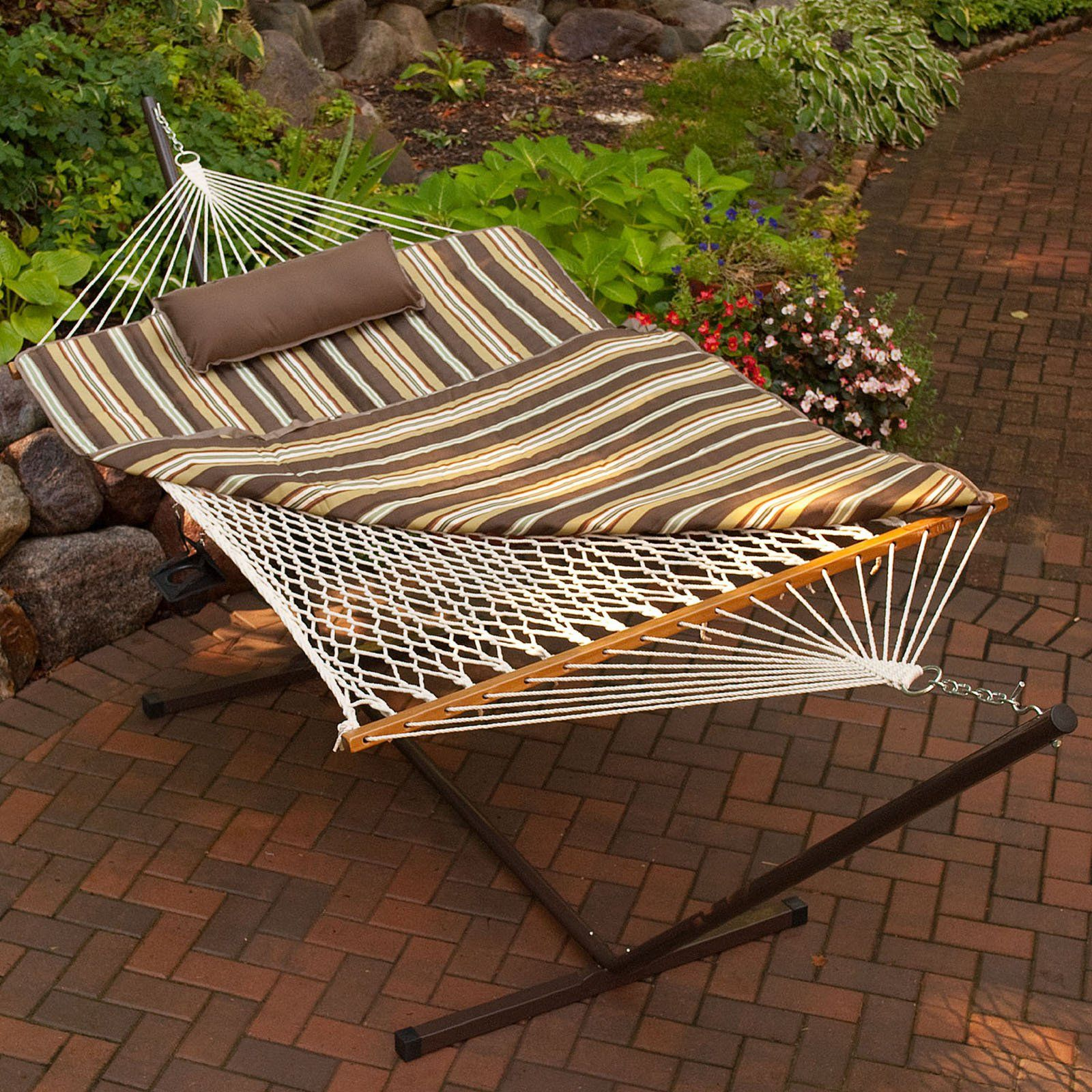 120 Algoma 11 Ft Cotton Rope Hammock Metal Stand Set Hammock And Stand Sets At Hayneedle With Images Hammock Pad Rope Hammock Relaxing Backyard
