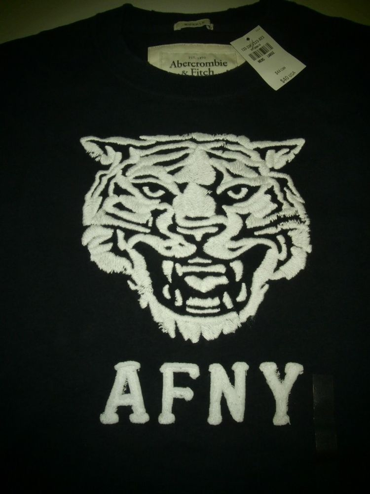 5836d4147 Abercrombie Fitch Black Navy Jay Range Tiger Vintage Tee T Shirt Red sz L  #AbercrombieFitch #GraphicTee