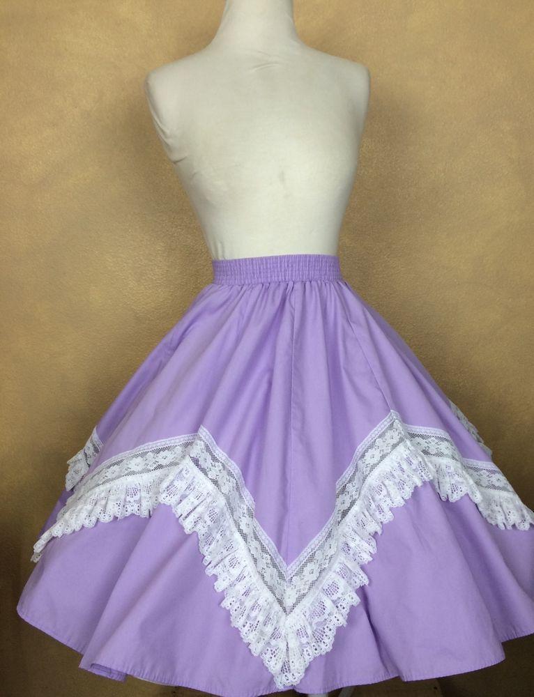 94143bbc00 Partners Please Malco Modes Lavender w White Lace Square Dance Skirt S   MalcoModes