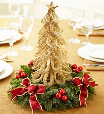 Christmas tree centerpiece.. I am a DIY person.. I know I can craft this...