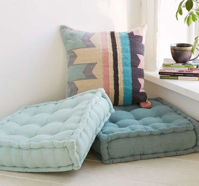 This soft, overstuffed Tufted Corduroy Floor Pillow is tufted with 9 ...