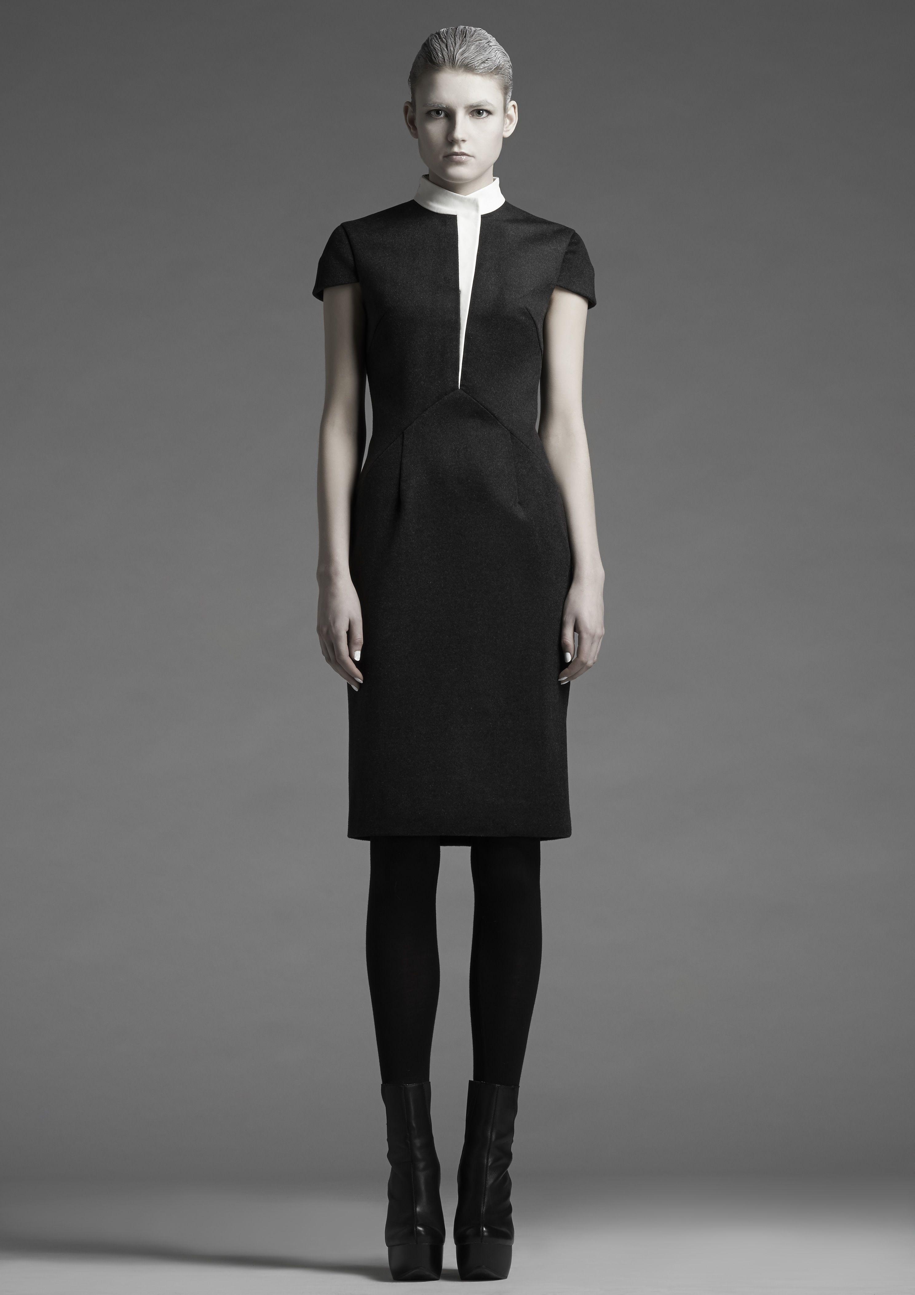 Leather Lapel Wool Dress | Leonard Wong | NOT JUST A LABEL