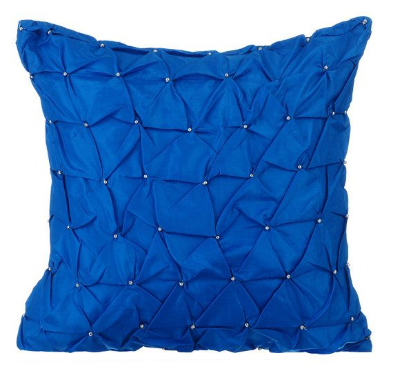 Royal Blue Throw Pillows for Bed 16x16 Pillow by TheHomeCentric